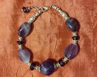 Braccialetto Principessa in pietra naturale di ametista viola armonicabijoux.