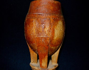 SALE#...African Tribal Luba Divination Medicine Container Old Used Ethnographic Art Zaire DRC