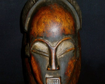 Baule Tribal Carved Wood Portrait Mask Nice Patina African