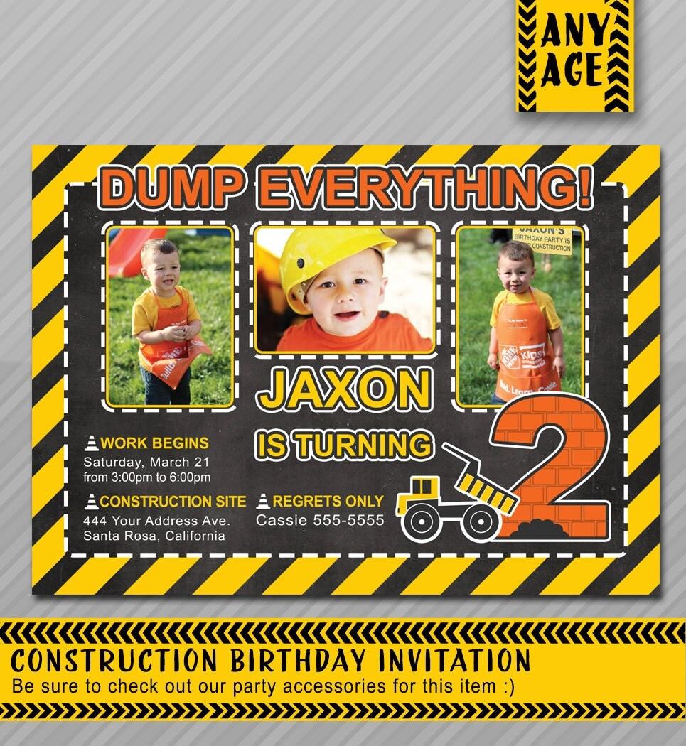 Construction Birthday Invitation Construction By