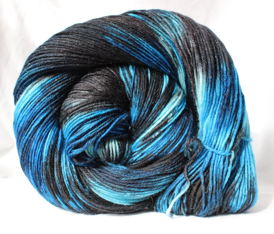 Variegated Yarn : Hand dyed Yarn Black / Blue variegated with by SMAKSuperFibers