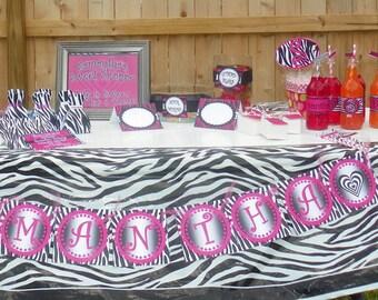 Diva Party, Diva Birthday, Animal Print Party, Animal Print Birthday, Diva Party Package Printable Party- Zebra Print Party
