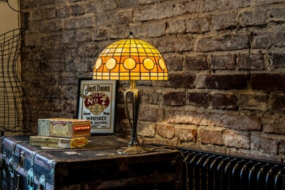 Reading Lamp, Reading Light, Restaurant Decor, Stained Glass, Vintage Lamp Shade, Table Lamp, Home Decor, Vintage Light, Art Deco Lamp