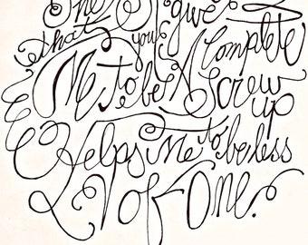 handwritten, custom typographic art