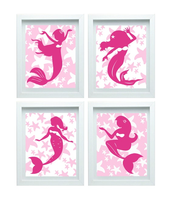 Pink Mermaid Decor Girl Bathroom Art Little Mermaid Print Little Mermaid Decor