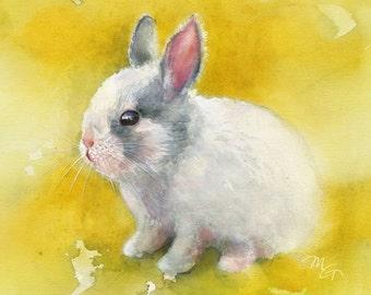 Bunny Rabbit Watercolor Painting Art Print. Nature Animal Illustration. Easter Rabbit Spring Rabbit