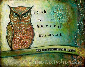 "Owl Decor--8X10 Archival Print of Original Mixed Media Painting--""Sacred Owl""--Pam Kapchinske"