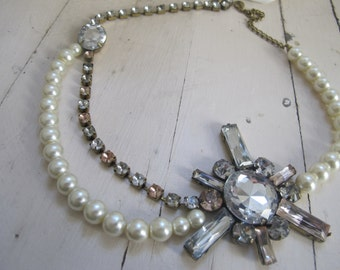 Audrey Collier fancy fake pearls and fake diamonds