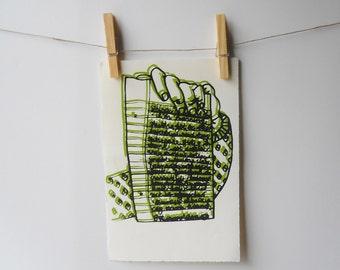 List screenprint | lime green, black, hand holding lined-paper list | line sketch