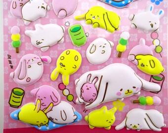 SUPER PUFFY Japanese bunnies and mochi 3D stickers - kawaii dango balls - dessert - cartoon bunny rabbit - matcha green tea - sweets