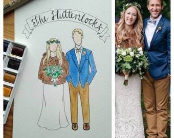 Wedding or Couple Portrait : Watercolor and Hand-Lettering