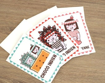 Postcards, illustration retro and vintage children, Indian, ateliervudo, vudo, made in France, chocolate, Choco-Indians