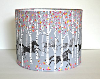 Black Stallions in a Birch Tree Forest on a Gray Drum Shade