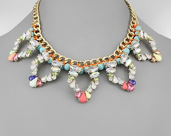 CLEARANCE - Pastel Crystals Statement Necklace