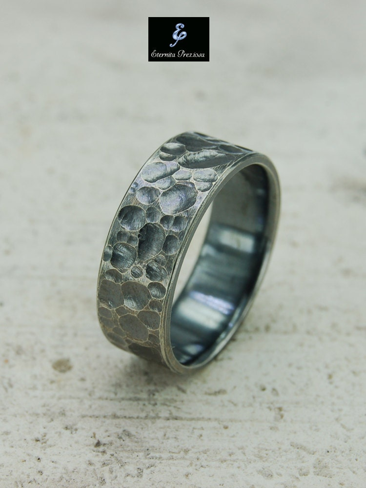7 5mm Hammered Silver Ring Men S Silver Ring Mens