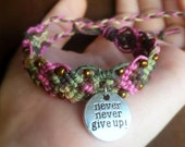 Never Give Up Bracelet Quote Charm Hemp Bracelet Beaded Camo and Pink Inspirational Jewelry Cuff Bracelet