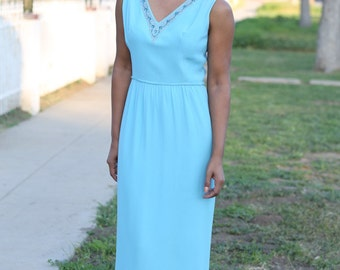 1970's Vintage Baby Blue Maxi Dress with Beaded Neckline