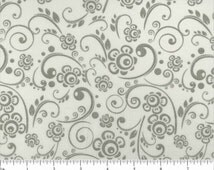 "108"" White & Gray flowers vine leaf Choice Quilt Backing fabric. 108 inch wide cotton quilt quilting vines flowers"