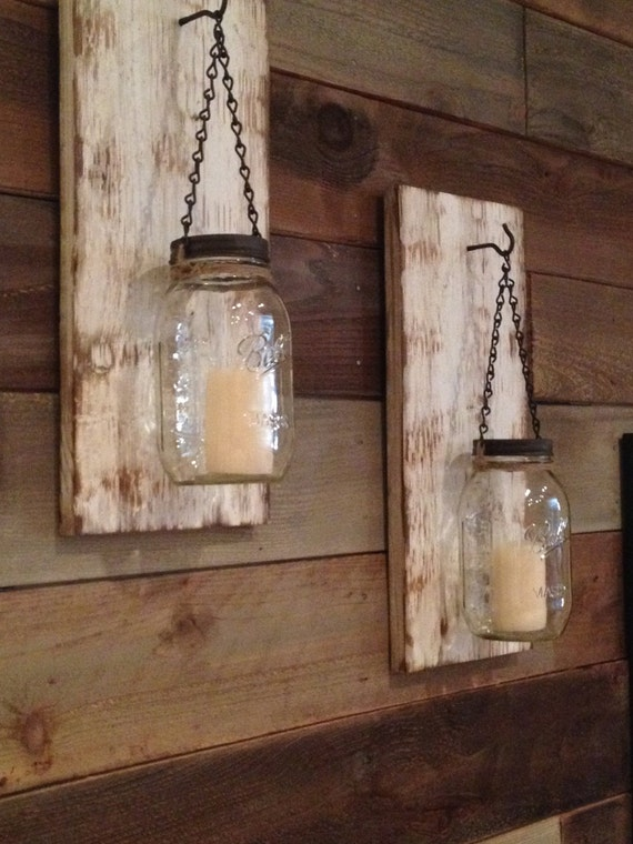 Items similar to Rustic Mason Jar Wall Sconce/Rustic White Candle Sconces/Mason Jar Candle ...