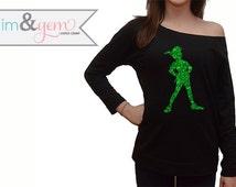 Disney's Peter Pan Silhouette Glitter Shirt // Peter Pan and Tinkerbell Shirt // Peter Pan Shirt // Disney Clothing // Adult Disney Shirt