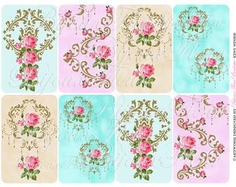 Vintage Shabby Rose Tags Instant Download no.132 Pastel Antique Wallpaper Collage Sheet PalaisFleurVintage