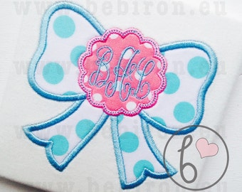Bow Scallop Monogram Applique Design Machine Embroidery Pattern Instant Dowanload