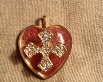 Delicate heart shaped decoupage pendant with rhinestone cross