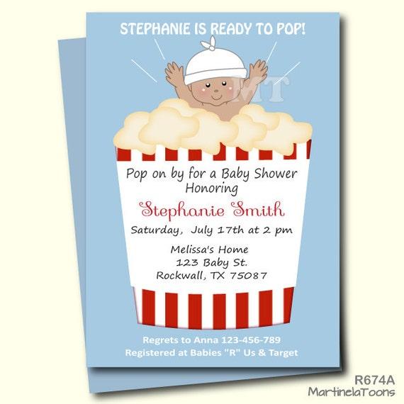 ready to pop baby shower invitation cute popcorn babyshower