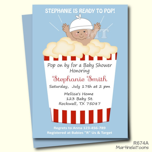 ready to pop baby shower invitation cute popcorn babyshower