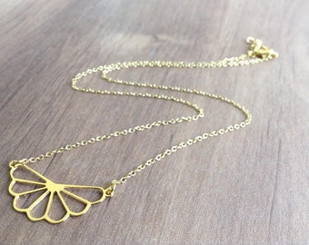 Gold Fan Necklace, Dainty Jewelry, Geometric Jewelry, Floral Necklace, Friendship Necklace, Gift Under 25, Gold Necklace, Petite Necklace