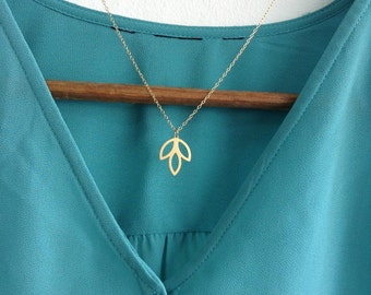 Long Dainty Lotus Necklace, Leaves Gold Necklace, Small Leaf Necklace, Minimalist Necklace, Simple Leaf Necklace, Lotus Gold Necklace, Yoga