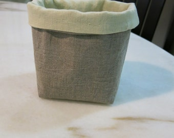 Medium -100% Pure Linen Fabric Basket, Eco Friendly Storage, Basket Container