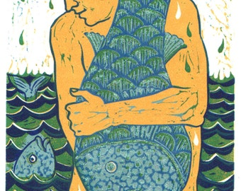"Handmade Lino Print ""Big Fish"" with glitter for extra sparkliness of a man holding a really big fish! By Laura Robertson"