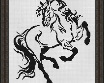 "Cross stitch pattern ""Horse black-white"""