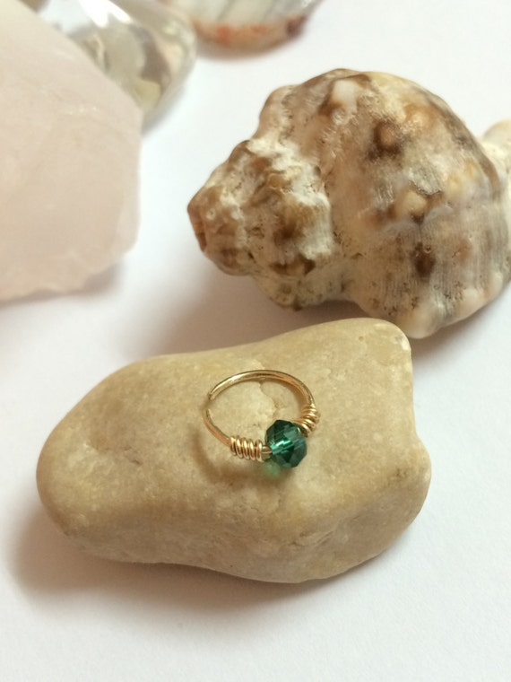 gold cartilage ring cartilage hoop tiny by flowerrainbownj