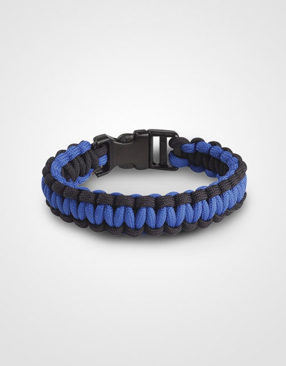 thin blue line paracord bracelet with solid blue line support