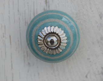 Glass Drawer Knobs In Teal With Bronze Hardware By Hookandknob