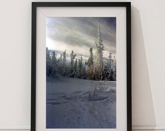 Winter Landscape Photography - Snow Print - Snowy Summit Photography - White Decor -Montagne du Midi - Quebec - 5x7 - Winter - Snow - White