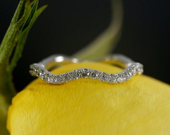 14K White Gold Wavy Diamond Eternity Band, Wavy Ring, Wedding Ring (available in rose gold, yellow gold, platinum and with other gems)
