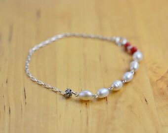 Bracelet chaîne- Perle- Corail- Argent