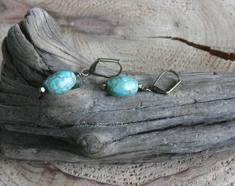 Idyllwild earrings, turquoise earrings, drop earrings, turquoise drop earrings, dainty earrings, Southwest jewelry, rustic earrings