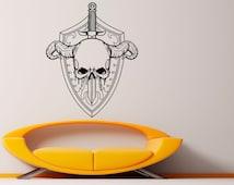 Skull Shield Wall Decal Vinyl Stickers Warrior Armor Art Interior Bedroom Removable Home Decor (12wri)