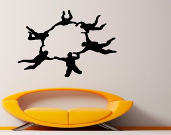 Skydiving Wall Decal Vinyl Stickers Parachute Jumping Housewares Art Interior Bedroom Removable Home Decor (4sdyr)