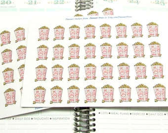 Popcorn Movie Night Planner Stickers For Your Erin Condren Life Planner ECLP or Filofax 1522