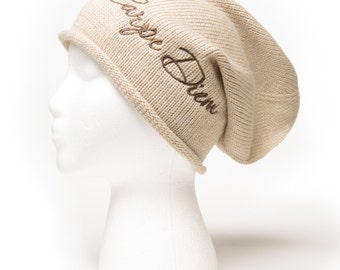 Slouchy Beanie with words Carpe Diem Embroidered Beanie Hat
