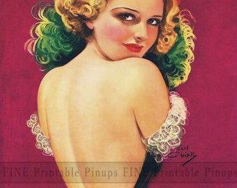 "Vintage Pinup Art Girl // 8""x10"" Printable Digital Download //Hello Mon Cherie"