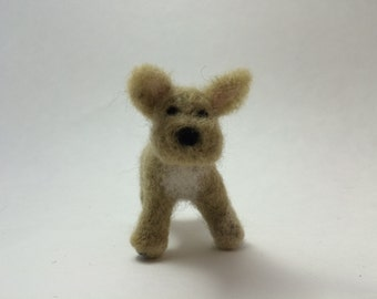 Needle Felted French Bulldog Sculpture:  Light Tan with White Chest, 100% Sheep Wool, Friendly Face and Detailed Paws