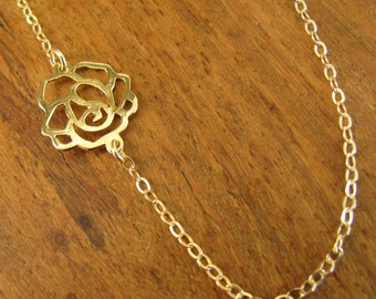 Gold necklace, flower necklace, gold filled flower necklace, sideways flower, gold flower necklace, jewelry gift, bridesmaid gift