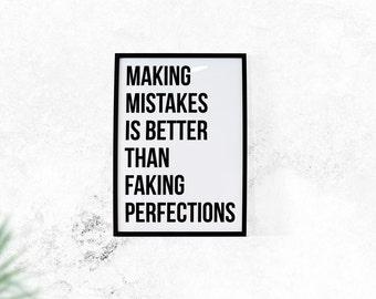Make Mistakes // Typography Print, Motivational Print, Inspiration Print, Black and White Art, Art Print, Wall Decor, Home Decor