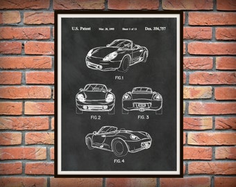 Patent 1995 Porsche 986 Boxster or Cayman - Sports Car - Poster - Wall Art - Automobile Patent - German Sports Car